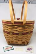 Longaberger 1994 Holiday Hostess Sleigh Bell Basket W/ Lid And Plastic Liner Flaw