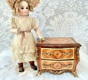 Sweet Small Wood Dresser Antique Doll Display Beautiful Detail Trim Drawers Open