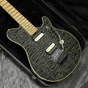 Music Man Axis Ex Trans Black Used 1998 Quilt Maple/basswood Body W/hard Case