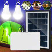 Portable Solar Panel Lighting System Emergency Light Camping Charging W/ 2 E W
