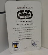 Vintage Minnesota Fishing Dept Sign Advertising Catch And Release Bass Snatchers