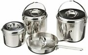 Captain Stag Barbecue Bbq Pot Set 3-layer Steel Camping Cooker With Bag