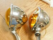 Vintage King Bee 1930's Amber Fog Lights, With Brackets Ford, Hot Rods, Chevys.