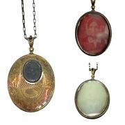 Victorian Mourning Hair Oval Pendant Necklace 925 Mirrored Daguerreotype Photo