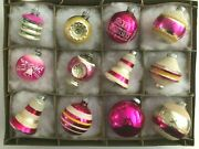 12 Vtg Shinybrite Sugar Frosted Candy Mica Indent Stencil Ufo Bell Pink Ornament