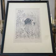 Marguerite Kirmse Original 1930 Etching Steady Now Pointer Hunting Dog Framed