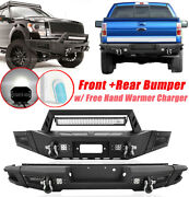 Front + Rear Bumper W/ Led Work Lights Bar D-rings For 2009-2014 Ford F150 F-150