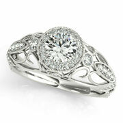 Natural 0.90 Ct Round Diamond Engagement Ring Solid 14k White Gold Size 6 7 8 9