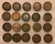 1912-1920 Canada Lot Of 20 Large 1 Cent Bronze Collectible Coins-km21-george V