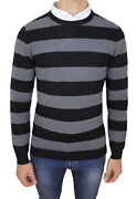 Pull Homme Diamond Encolure Ronde Casual Pull Hivernal Gris Noir Rayandeacute