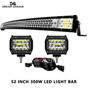 Fit Ford F150 2004-2014 Roof 52inch Curved Led Light Bar 5d 4and039and039 Pods Kit Wiring