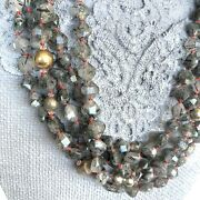 Christine Smith Necklace Layered Gray Faceted Rutilated Quartz Crystal Stunning