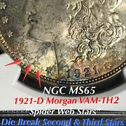 1921 D Morgan Vam-1h2 Break Second And Third Stars, Ngc Ms65 Finest Listed Toning