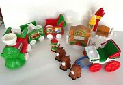 Mixed Lot Of Fisher Price Little People Christmas Tree Lighting And Train 2004