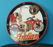 Vintage Indian Motorcycle Porcelain Gas Service Station American Chief Pump Sign