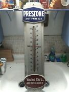 Antique Enamel Prestone Antifreeze Large Thermometer Collector Quality