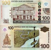 Suriname 100 Dollars Banknote World Paper Money Currency Unc Pick P166e 2019