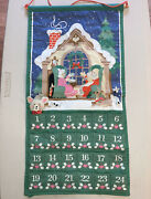 Vintage Avon 1987 Christmas Countdown Advent Calendar Mouse Fabric Wall Hanging
