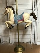Vintage 6' Full Size Carousel Horse Amusement Park Ride Brass Pole Stand Blow Mo