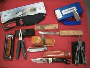 Junk Drawer Knife Lot Of 8 Items Multi Tools And Knives Some New Some Used