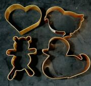 Lot Of 4 Large Copper Cookie Cutters Heart, Teddy Bear, Duck, Baby Bird-chick