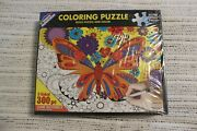 White Mountain Coloring Puzzle June Butterfly 300 Piece Jigsaw 2 Sided New 1208