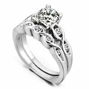 Solid 950 Platinum 0.90 Ct Real Diamond Wedding Band Set For Ladies Size 5 6 7