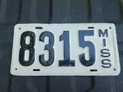Rare Authentic 1915 Mississippi License Plate Repainted 1914 1915 1916 1917 1918