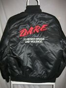 Vintage Dare Satin Bomber Jacket To Resist Drugs And Violence Size Small S