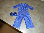 American Girl Blue Asian Syle Pajama Set W/slippers Ivy Perfect