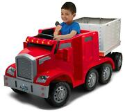 Ride On Toy Semi Truck And Trailer With 12v Rechargeable Battery And Charger