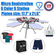 Pick-up 6 Color 6 Station Screen Press Printing Machine With Micro Registration