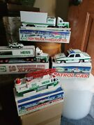 Lot 4 Hess Gas Holiday Toy Emergency Truck With Helicopter Patrol Car 18 Wheel