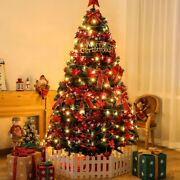 7.5 Ft Pre-lit Artificial Fir Christmas Tree With Led Lights Holiday Decorations
