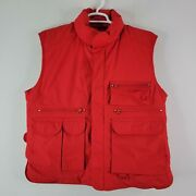 Eddie Bauer Goose Down Hunting Multipocket Field Utility Vest Red Menand039s L Large
