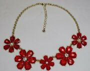 Unbranded Womens Gold Tone Flower Beaded Bib Statement Necklace Red 19 Long