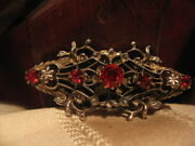 Vintage Victorian Era Filigree Coat Pin Broach With Beautiful Red Stones