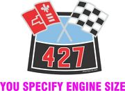Chevy Cross Flags Air Cleaner Sticker Any Engine Size Decal 4x3.3