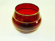 Ruby Red Cranberry Glass Bowl Vase With Gold Stripes