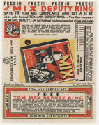 1935 Tom Mix Adventure Stories Chewing Gum Wrapper