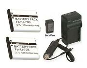 Two 2 Li70b Batteries + Charger For Olympus Fe-4040 Vg-110 Vg-120 Vg-130 Vg140