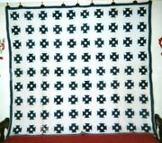 Hole In The Barn Door Quilt 70 X 82 C.1890, Illinois. Indigos On White