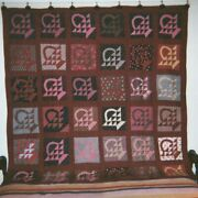 1880and039s Quaker Prints - Baskets In Sashing Quilt 78 X 78 From Pa. Cottons.