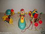 Fisher Price Pull Toys 6 Snoopy 693 Train 643 Humpty 736 Turtle 773 Plane Iron