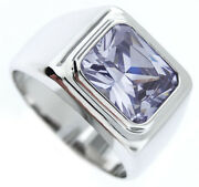 Mens Light Amethyst Cz Solitaire Silver Rhodium Plated Ring