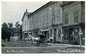 Sandy Creek Ny Store Fronts Barber Pole Horse And Wagans Super Rppc Postcard