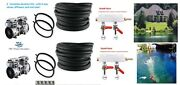 Diypondpro Large Pond Aerator System W/2 Pumps/ 200' Wtd Hose/4 Ring Diffuser's
