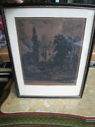 Antique Signed Print Of Cows And Workers In A Field W A Building In The Background