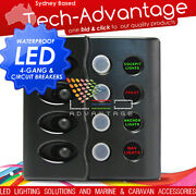12v Marine/boat 4 Gang Waterproof Led Lit Switch Panel And 15 Amp Circuit Breakers