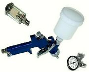 Mini Spray Gun Hvlp Air Touch Up + Water And Oil Separator + Regulator With Gauge